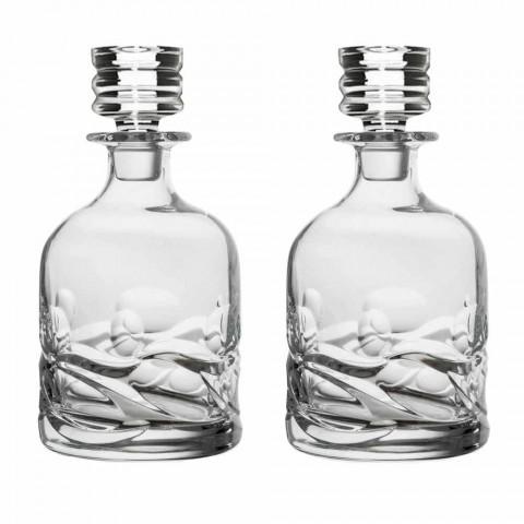 Servizio da Whisky 2 Bottiglie e 4 Bicchieri in Cristallo Decorato - Titanio