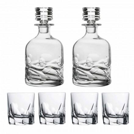 Servizio da Whisky 2 Bottiglie e 4 Bicchieri in Cristallo, Linea Lusso - Titanio