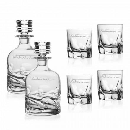 Servizio da Whisky in Cristallo con Logo Personalizzato, Linea Lusso - Titanio