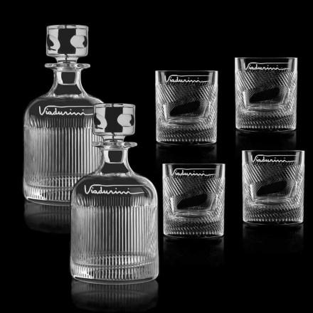 Servizio Whisky da 6 Cristallo Personalizzabile con Logo, Linea Lusso - Tattile