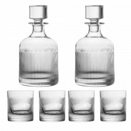 Servizio da Whisky in Cristallo Ecologico, Design 6 Pezzi Linea Lusso - Tattile
