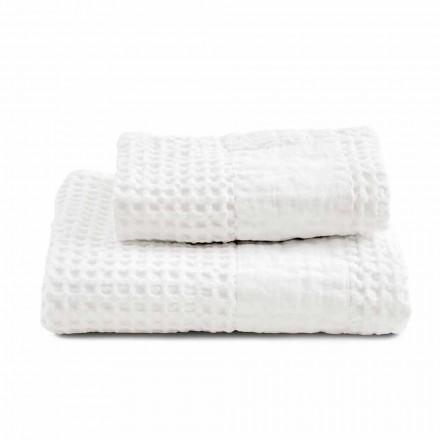 Servizio di Asciugamani da Bagno in Cotone Nido d'Ape e Lino Colorati - Turis