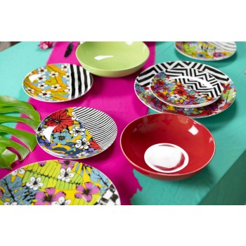Servizio di Piatti da Tavola Colorati in Gres e Porcellana 18 Pezzi - Portorico