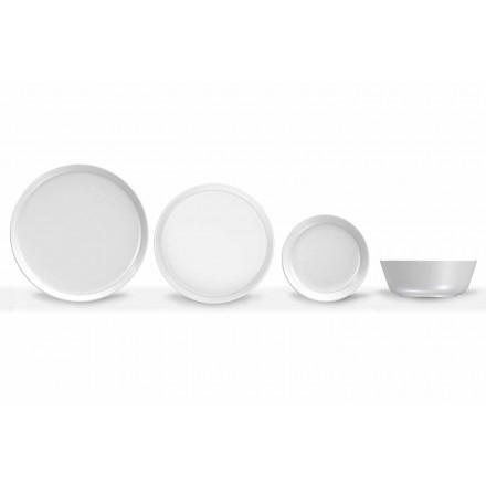 Servizio di Piatti Moderni Bianchi di Design in Porcellana 24 Pezzi - Artico