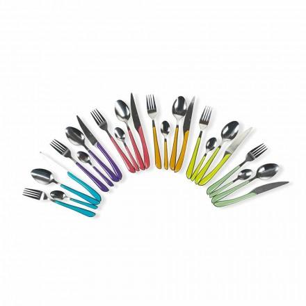 Servizio di Posate Colorate 24 Pezzi in Acciaio e Plastica Design - Algeria
