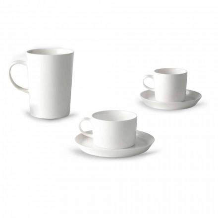 Servizio di Tazze da Caffè, Tè e Colazione 30 Pezzi in Porcellana Bianca - Egle