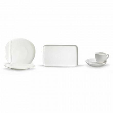 Servizio Piatti Aperitivo Design Moderno in Porcellana Bianca 36 Pezzi - Nalah