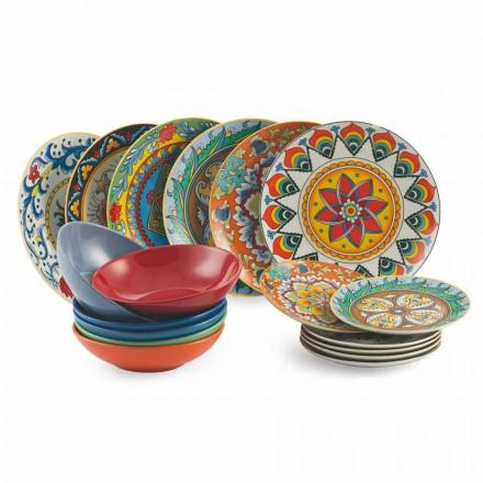 Servizio Piatti Colorati da Tavola 18 Pezzi Porcellana e Gres - Rinascimento