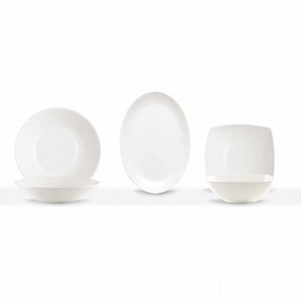 Servizio Piatti da Portata 3 Pezzi Design Moderno in Porcellana Bianca - Malaga