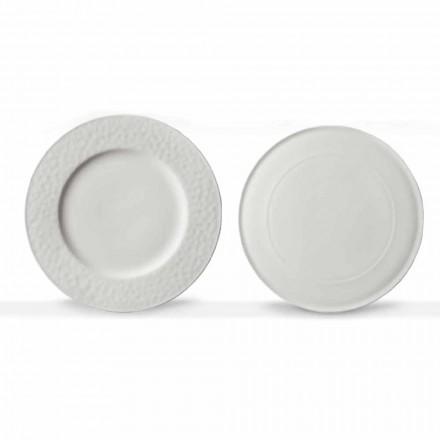 Servizio Piatti da Portata Gourmet Design in Porcellana Bianca 2 Pezzi - Flavia