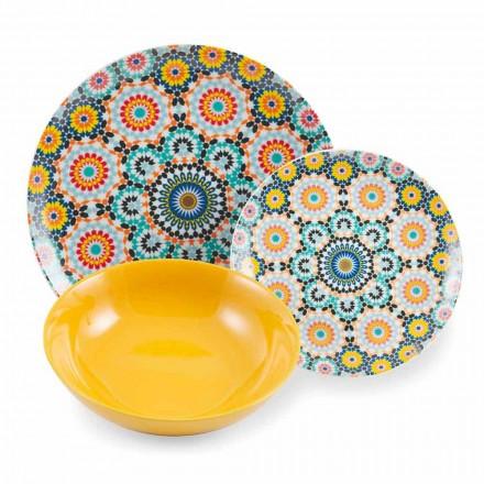 Servizio Piatti da Tavola Etnici Colorati Porcellana e Gres 18 Pazzi - Marocco