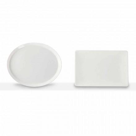 Servizio Piatti Portata Design Ovale e Rettangolare 3 Pezzi in Porcellana - Egle