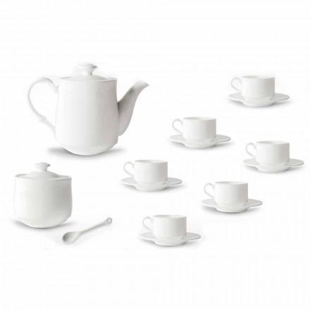 Servizio Tazze Caffè in Porcellana Bianca Design Impilabile 15 Pezzi - Samantha