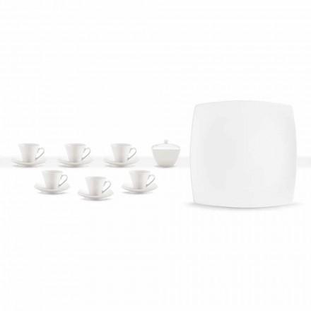 Servizio Tazze Caffè in Porcellana Bianca Design Moderno 8 Pezzi - Duomo