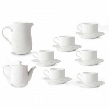 Servizio Tazze Cappuccino Bianche in Porcellana 14 Pezzi da Colazione - Samantha