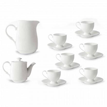 Servizio Tazze Cappuccino con Piede 14 Pezzi in Porcellana Bianca - Armanda