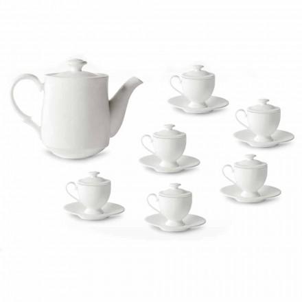 Servizio Tazzine Caffè con Piede e Coperchio 19 Pezzi in Porcellana - Armanda