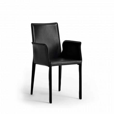 Sedia con Struttura in Acciaio Rivestita in Pelle - Design Moderna Jolie