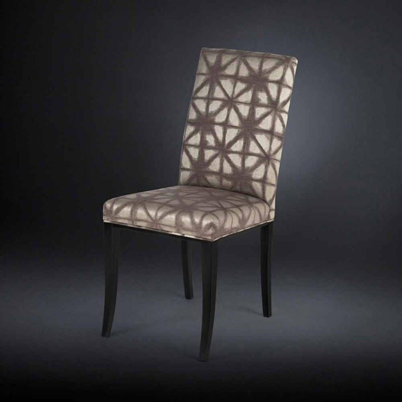 Set 2 sedie moderne imbottite con gambe in legno nero Audrey