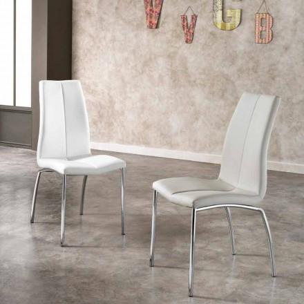 Set 4 sedie design moderno in ecopelle e metallo cromato Alba