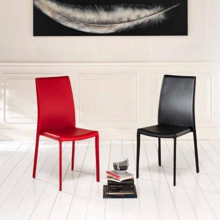 Set 4 sedie moderne in ecopelle Gioia, interamente rivestite