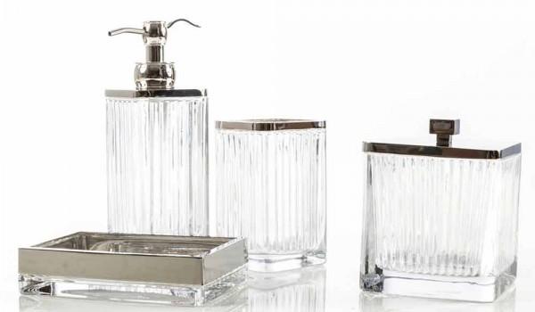 Set Da Bagno Moderno : Set accessori da bagno da appoggio di design in vetro e metallo priola