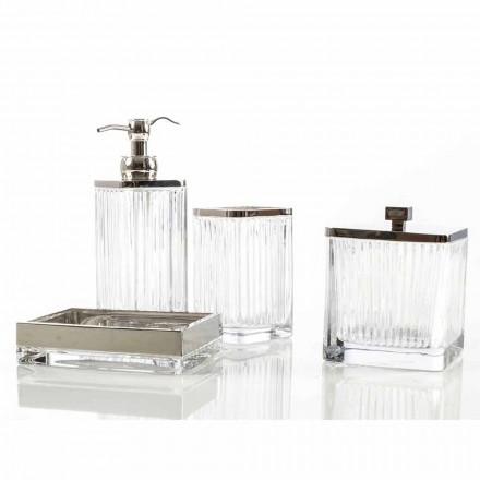 Set accessori bagno da appoggio moderno in vetro e metallo Priola