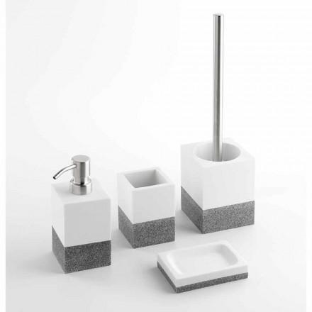 Insieme di Accessori Bagno di Design in Resina Bianca e Grigia – Saeda