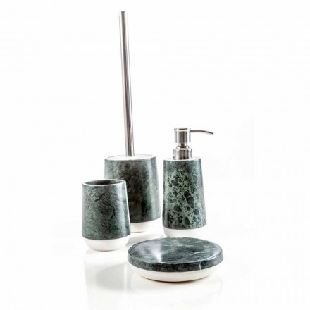 Set accessori da bagno moderni in marmo verde screziato Bombei