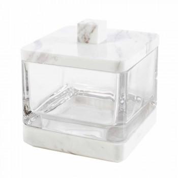Set accessori da bagno moderno in marmo Calacatta e vetro Carona