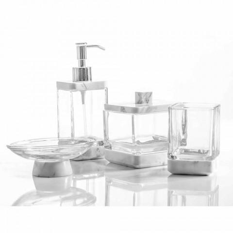 Accessori Bagno Moderno.Set Accessori Da Bagno Di Design In Vetro E Marmo Calacatta Carona