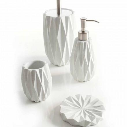 Set accessori moderni da bagno da appoggio in resina bianca Levice
