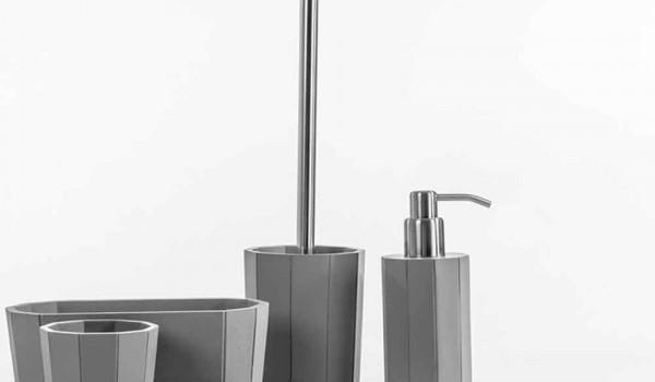 Set Da Bagno Moderno : Set accessori da bagno da appoggio in resina bianca grigio rivello