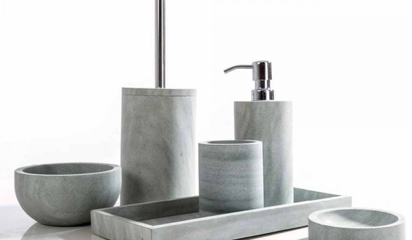 Set Da Bagno Moderno : Set accessori da bagno di design in pietra grigia montale