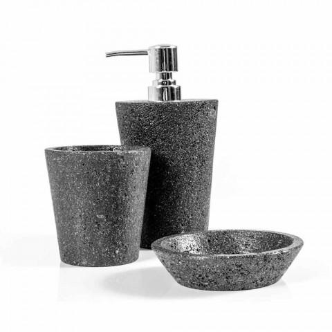 Set accessori da bagno di design in pietra lavica Montiano