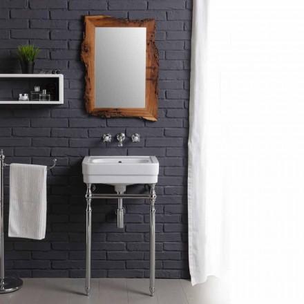 Set bagno con lavabo vintage su struttura e specchio in briccola Creativity
