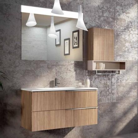 Composizione sospesa da bagno di design in ecolegno made Italy,Cesena