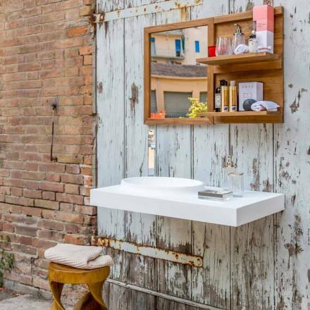 Set mobili sospesi da bagno di design moderno in solid surface Brusson