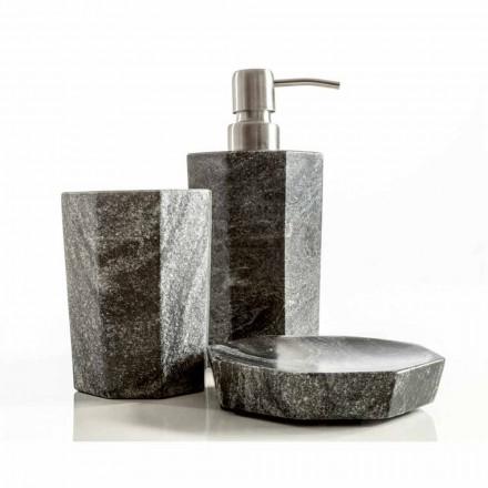 Set moderni accessori per bagno in marmo grigio venato Montafia
