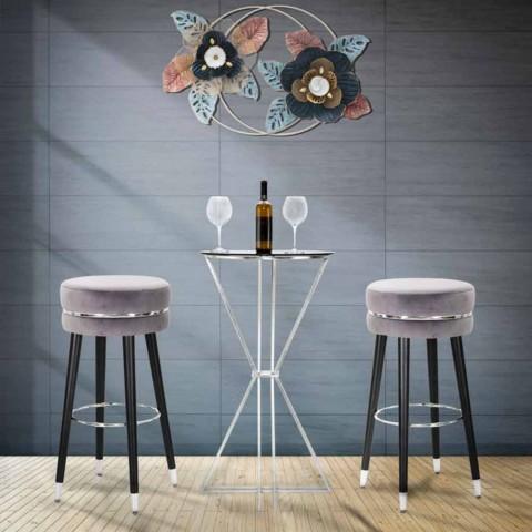 Sgabello Bar Rotondo in Legno e Tessuto di Design Moderno - Rupert
