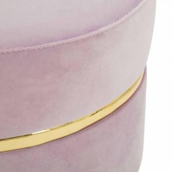 Sgabello Basso Colorato di Design Moderno in Legno e Tessuto - Misha
