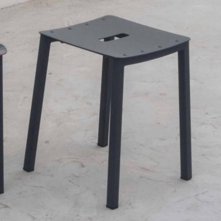 Sgabello Basso Impilabile da Esterno Moderno in Alluminio Made in Italy - Dobla