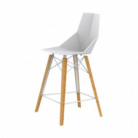 Sgabello da Cucina Design in Legno e Plastica Vari Colori - Faz Wood by Vondom