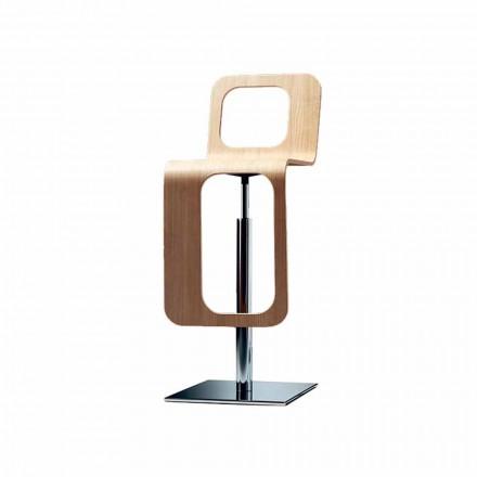 Sgabello da Cucina di Design Moderno in Legno Rovere e Metallo - Signorotto