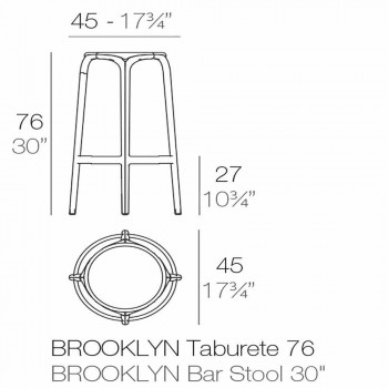 Sgabello da esterno Brooklyn by Vondom in polipropilene, H 76 cm
