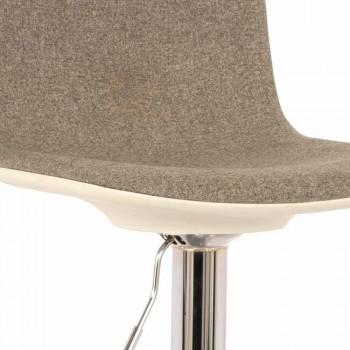 Sgabello Design con Alzata a Gas in Tessuto e Metallo Cromato, 2 Pezzi - Cromo