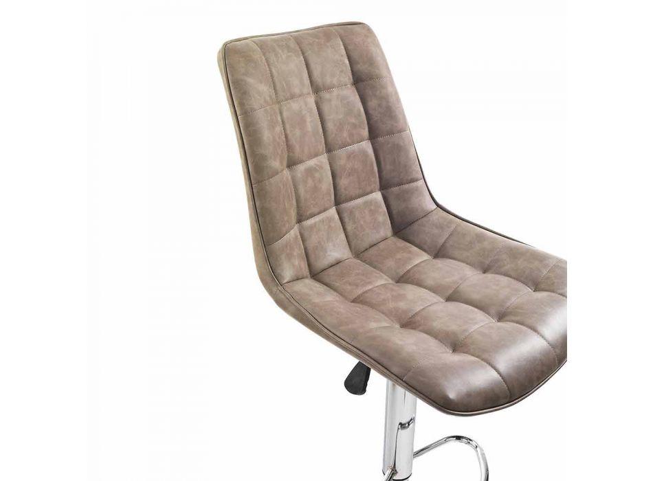 Sgabello Design con Seduta in Similpelle e Struttura Cromata, 2 Pezzi - Chiotta