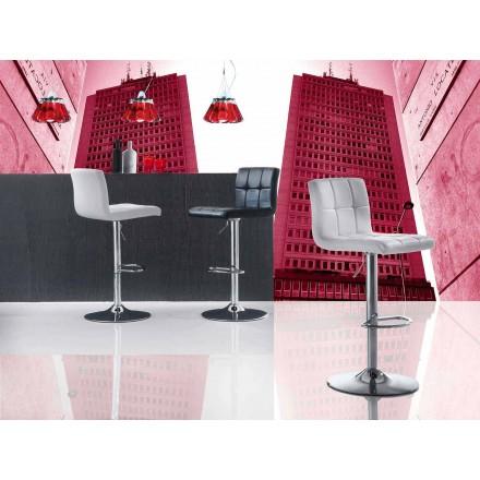 Sgabello Design Moderno Alzabile, Sedile in Ecopelle - Delfina
