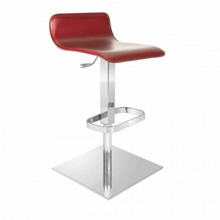 Sgabello di design con seduta regolabile e base cromata Inigo