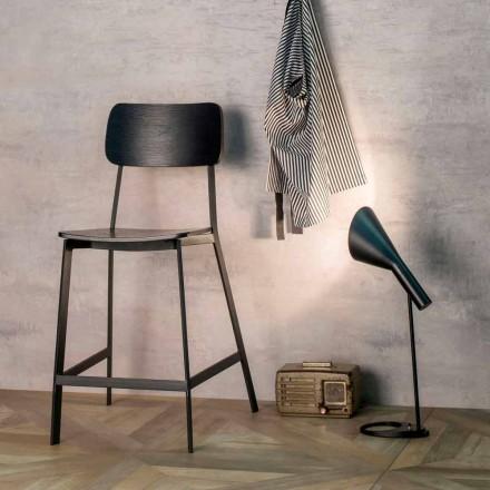Sgabello dal design moderno H 97 cm Elmas, in legno e metallo